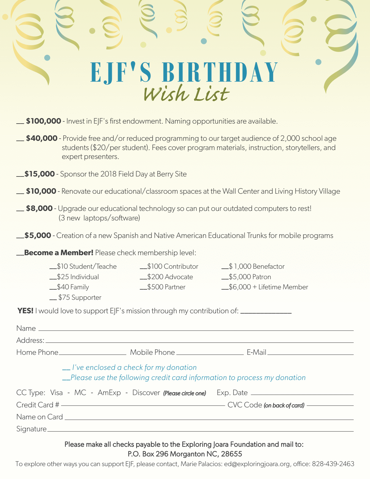 Birthday Wish List for Exploring Joara Foundation